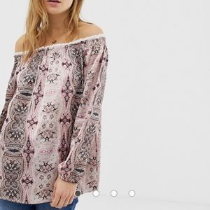 🐣 QEDLondon silky off shoudler tunic top size med